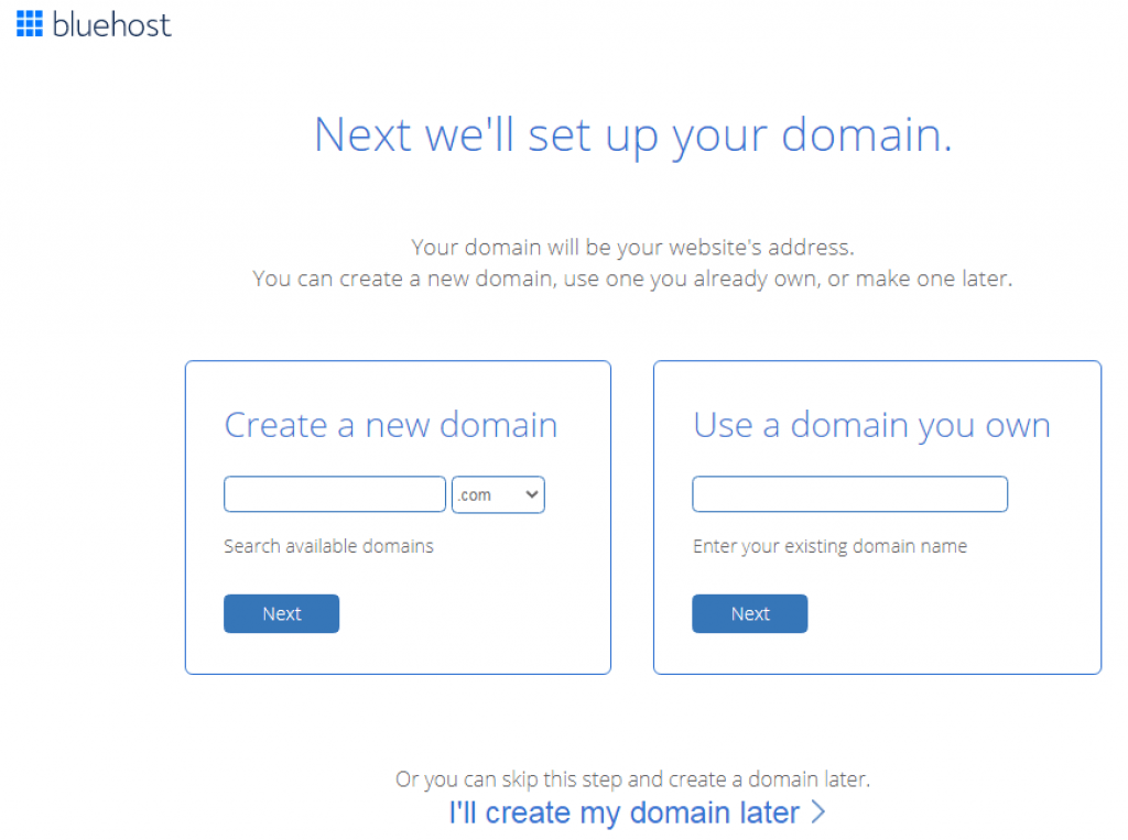 bluehost domain name registation