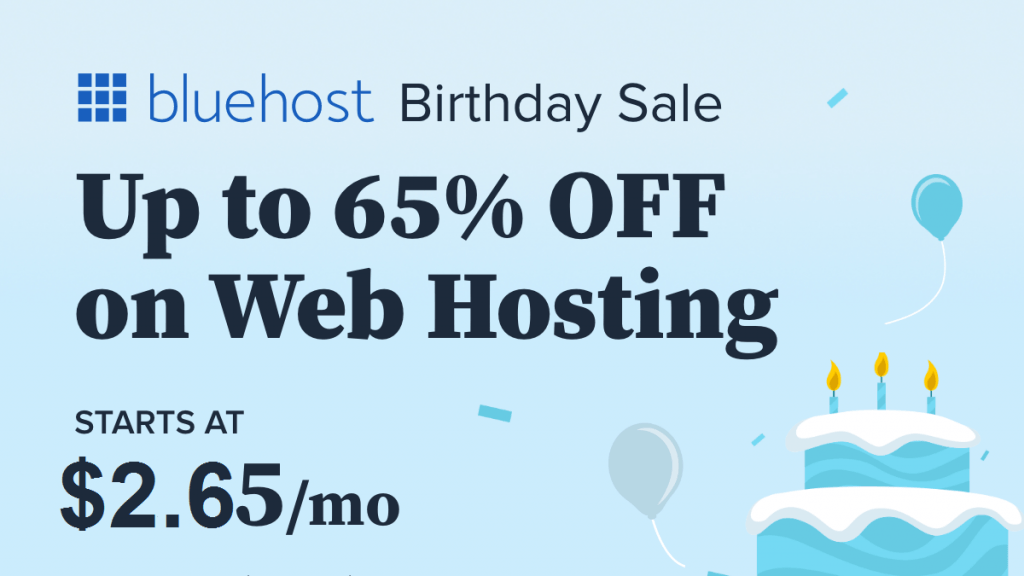 Bluehost Birthday Sell upto 65% off
