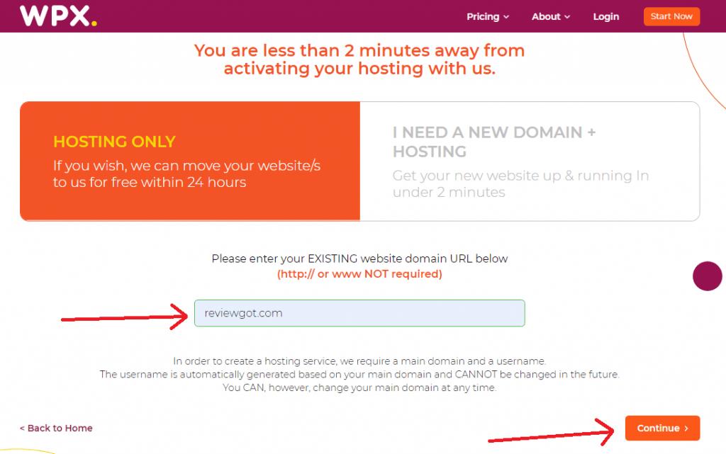 WPX hosting domain reg