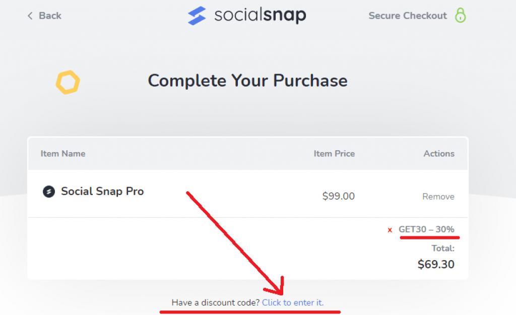 socialsnap coupon applied