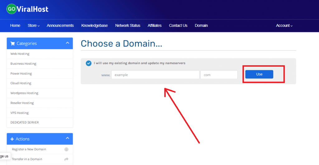goviralhost enter domain name