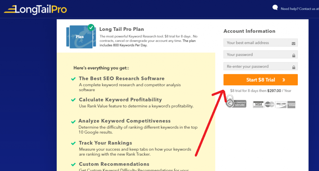 longtailpro plans create account