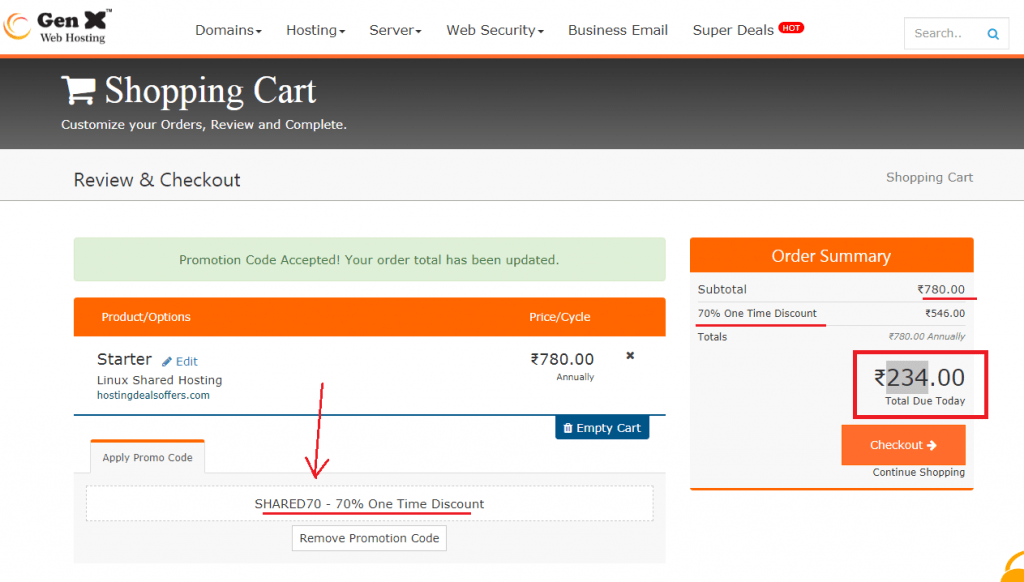 gen x web hosting coupon
