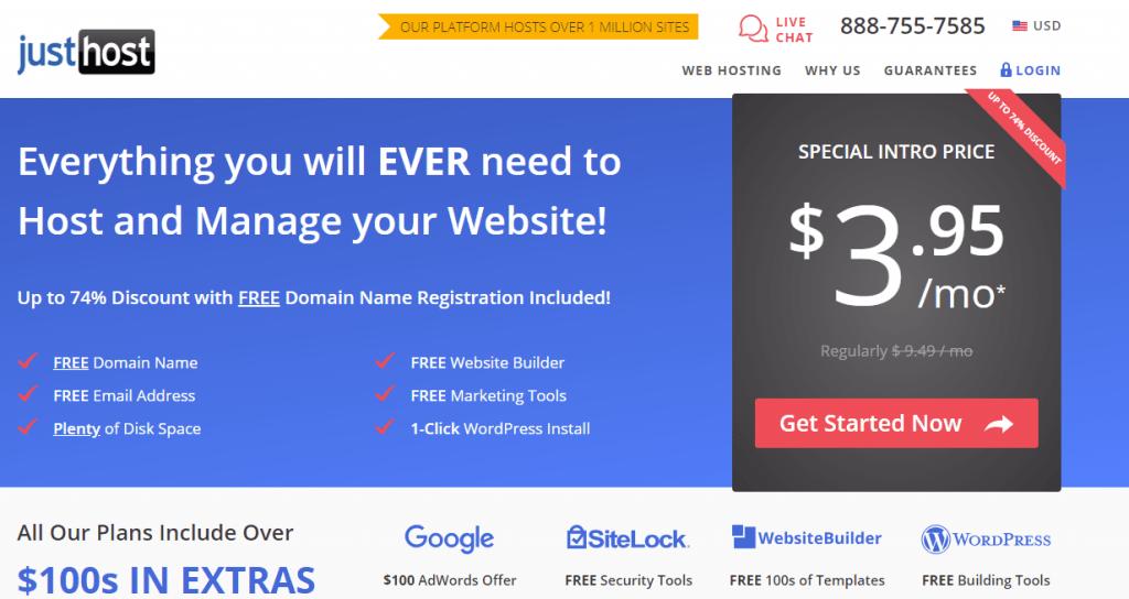 justhost hosting provider