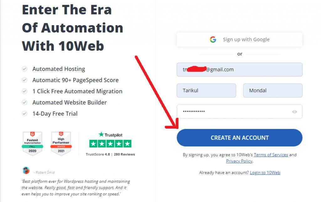 10web create account