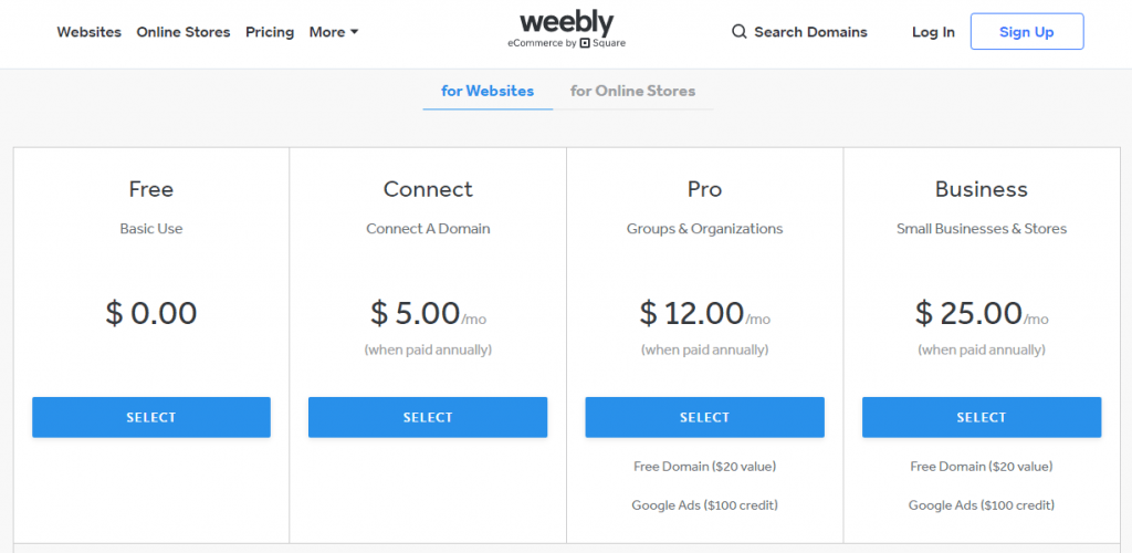 weebly prices